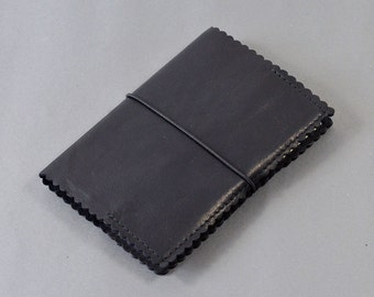 A6 Black Waxed Leather Notebook with Scallop Edge detail - Includes Plain Page A6 Notebook