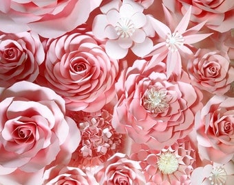 Paper Flowers Backdrop in Sweet Pink color