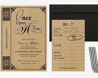 DIY Word Template Wedding Invitation Stationary Set   Editable Word Template   Instant Download    DIY You print   Vintage Story book