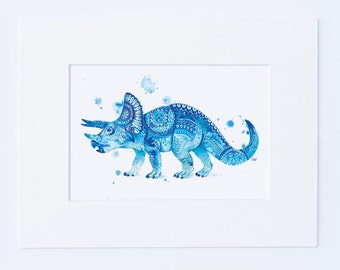 Dinosaur Wall Art - Kids Dinosaur Art Boys Nursery Art Mandala Prints Dinosaur Prints Wall Decor Boys Room Decor Dinosaur Gifts Triceratops