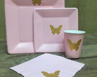 Pink & Gold Glitter Butterfly, Spring Garden Party Cups, Plates, and Napkins, Pink and Gold Birthday, Spring Baby Shower