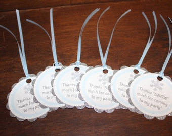 Party Favor Tags, Quantity of 12, Glitter Snowflake Favor Tags, Winter Wonderland Party Favors, Frozen Party Favor Tags,Silver Snowflake