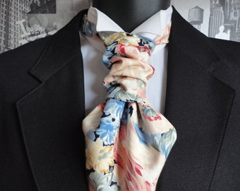 Scrunchy Wedding Cravat, Ascot, Cravat, Self Tie Cravat or Pre Tied Cravat on an adjustable band