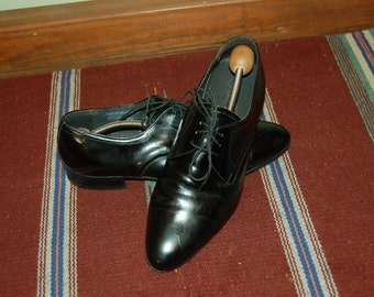 Men Size 10 Vintage Flippo Verde Italian Black Dress Shoes