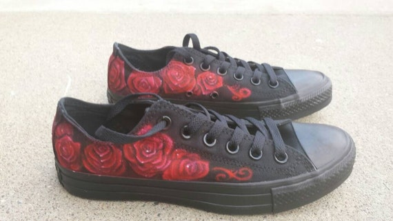 6a576dbc6a51 lovely Custom Airbrushed Rose design black monochrome Converse Shoes ...