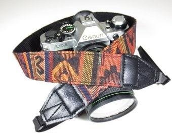 Vintage Camera Strap - Woven Aztec Pattern - DSLR / SLR