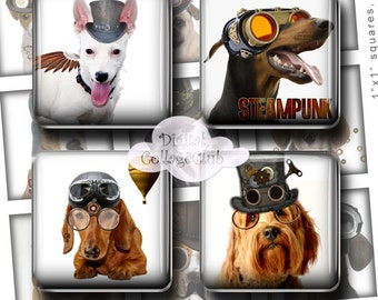 Steampunk Dogs 1x1 Inch Digital Collage Sheet Square Scrabble Tiles Images for Jewelry Making Instant Digital Download