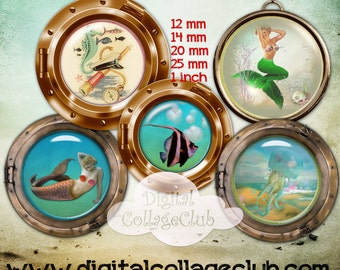 Seaside and Mermaids Digital Collage Sheet 12 mm, 14 mm, 20 mm, 25 mm 1 Inch Round Circle Digital Images for Bottle caps, Cufflinks, Sticker