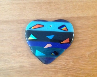Fused Glass Heart Blues