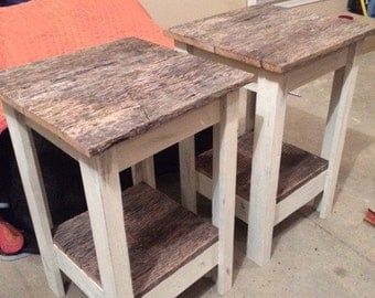Reclaimed Barnwood Night Stains End Tables Distressed White Set Of 2