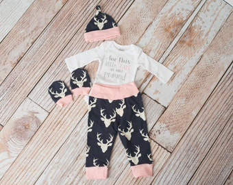 Newborn Coming Home Baby Deer Antlers/Horns Bodysuit, Hat, Scratch Mittens Set with Navy and Pink+ Glitter For This Little Girl Bodysuit