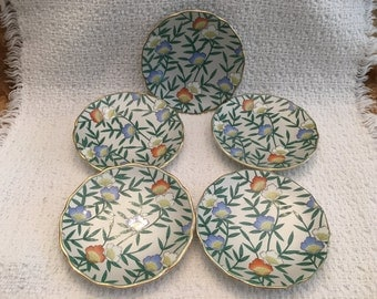 Asian Floral Sauce Dishes, Porcelain Floral Dishes, Porcelain Coasters, Floral Tea Bag Holders, Nut Dishes, Butter Pats, Set of 5, Gold Trim
