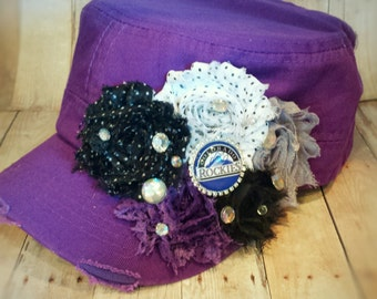 Baseball Hats - Colorado Rockies Inspired - Ladies Floral Embellished Hats - Sports Hats - Team Hats - Coach's Gifts - Team Uniforms -Bling