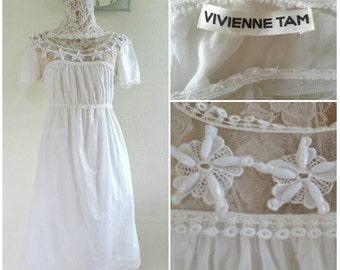 Vintage Vivienne Tam Beaded Coton Dress Size 0 will fit for XS - S