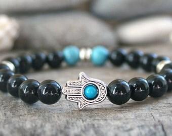 Hamsa bracelet Good Luck gift for him Black onyx bracelet Protection bracelet  bracelet Energy bracelet Reiki bracelet Om bracelet