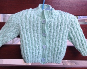 Baby cardigan, pure wool, hand knit
