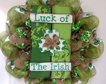 Luck Of The Irish St Patrick's Day Handmade Deco Mesh Wreath