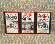 Scary Stories to Tell in the Dark short set - Alvin Schwartz scary horror trilogy original Vintage Paperback Books Stephen Gammell Art