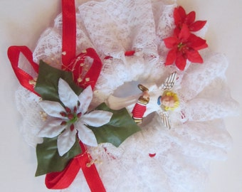 Christmas Ornament  Handmade  Vintage  Angel with Poinsettia   4 1/2'' round