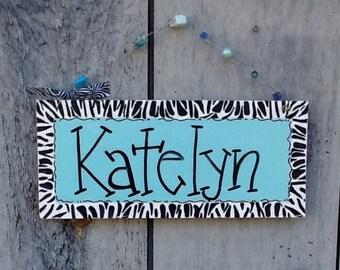 Zebra print door sign, zebra print sign, zebra print room sign, teen room sign, teen name sign,