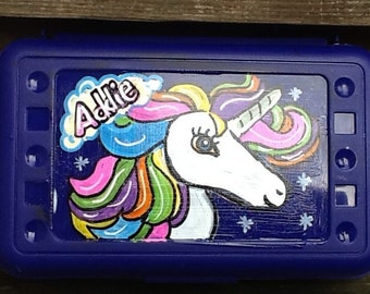 Unicorn pencil box, unicorn art box, unicorn crayon box, school art box, school pencil box, school crayon box, horse art box, fairy tale box