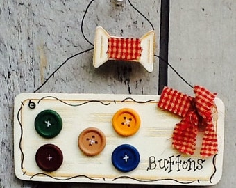 Button ornament, christmas ornament, sewing ornament