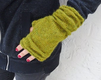 Alpaca Slouchy Fingerless Mittens Gloves - Light Olive Green - READY TO SHIP
