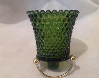 Green hobnail candleholder votives, deep green candle holders for sconces, hobnail votive cups, sconce candle holders
