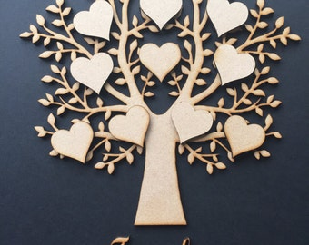 SINGLE  Wooden MDF Family Tree & hearts,complete set,weddings guestbooks 007