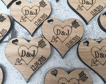 Wedding Favours , wooden engraved hearts