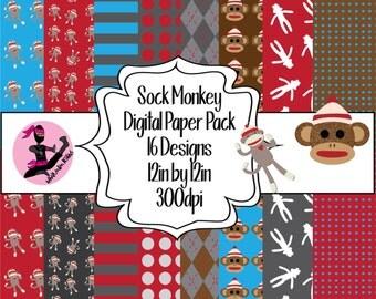 Sock Monkey Digital Paper Pack- 16 Sheets- Instant Download