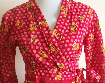 Red spotty / Multi kimono top / belted jacket with bell sleeves . size 10