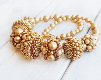 Swarovski pearl necklace, jewelry swarovski, vintage gold necklace,  wedding necklace, beadweaving, Crystal necklace, bridal jewelry, OOAK