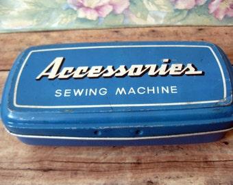 Vintage Sewing Machine Accessories Tin / Vintage Sewing Machine Tin / Vintage Needlecraft Tin / Metal Sewing Box / Vintage Blue Tin