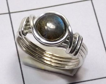 Labradorite Ring, Labradorite Stone Ring, Wire Ring, Women Unique Ring, 925 Silver Ring, Handmade Ring, Wedding Ring, Promise Ring, Jewelry