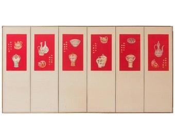 Six-Panel Korean Silk Embroidered Screen
