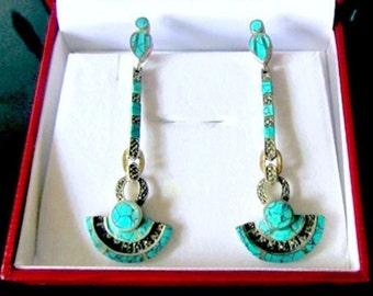 Vintage Turquoise Earrings in Silver