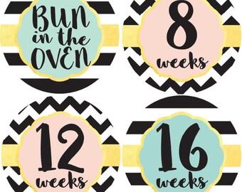 Pregnancy Stickers, Maternity Stickers, Belly Stickers, Belly Bump Sticker, Weekly Pregnancy Stickers, Pregnancy Milestone