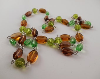 Fall Beaded Necklace - Fall Glass Beaded Green & Brown Necklace