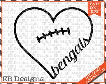 Bengals Football Love SVG DXF EPS Cutting Machine Files Silhouette Cameo Cricut Bengals Vinyl Cut File Valentine Vector svg file