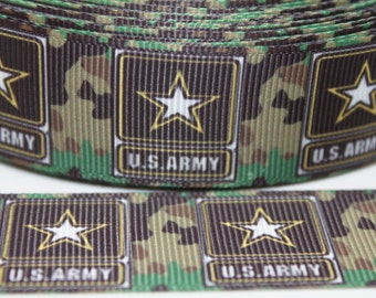Army Ribbon 1 Inch Grosgrain Ribbon by the Yard for Hairbows, Scrapbooking, and More!!