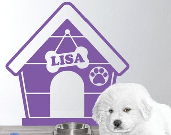 Personalized Dog house Wall Decal - Dog house wall decal - Puppy Dog Theme - Dog Name Decal - Gift for Dog lovers - Puppy house wall sticker
