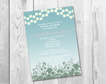 Bridal Shower, Enchanted Garden Invitation, Digital Printable File