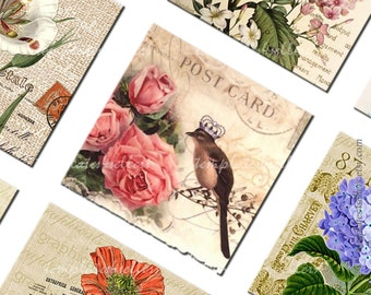 Digital Collage Sheet Vintage Flowers Birds 1x1 inch size Square Images Printable Jewelry making Scrapbooking 233