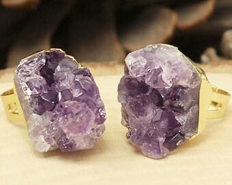 Amethyst Ring, Gold Amethyst Ring, Amethyst Cluster Ring, Raw Amethyst Cluster Ring, Gold Amethyst Gemstone Ring, Crystal Ring, Boho Ring