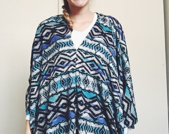 Black and Blue Aztec Sweater Knit Poncho