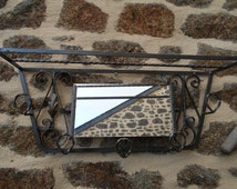 Vintage French Entrance Mirrored Coat/Hat Metal Wall Rack