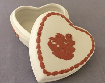 Wedgwood Collectors Society Jasperware Heart Box Cream & Terra Cotta-Wedding,Bride,Mother of the Bride,Maid of Honor Gift,Collectors Society