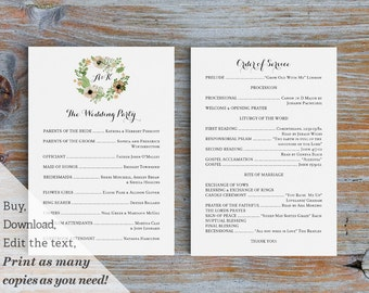 Printable Wedding Ceremony Program Template in Watercolor Calligraphy