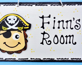 Personalized PIRATE Overlay Nursery Door Room Sign Name Kids Nautical Decor Handcrafted Plaque